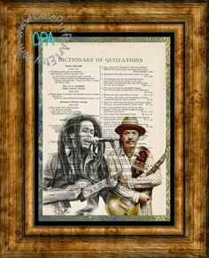 Carlos Santana & Bob Marley Rock n' Roll Singers Art - 2 Print Special - Vintage Dictionary Page Art Print Upcycled Page Print by CocoPuffsArt on Etsy