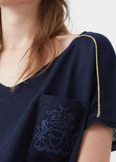 Contrast trim t-shirt - f foShort sleeved Woman | MANGO USA