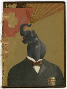 Refresh Your Memory, 2014, collage on book cover with ink, fabric, and colored pencil by Angelica Paez.