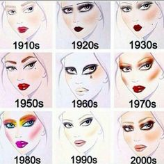 Decade makeup starting in 1910 and going all the way until now. Looks based off of an artist rendering of each decade's makeup trends! Makeup Inspo, Makeup Tips, Beauty Makeup, Eye Makeup, Hair Makeup, Makeup Style, Glow Skin, Retro Makeup, 1970s Makeup Disco
