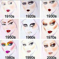 Decade makeup starting in 1910 and going all the way until now. Looks based off of an artist rendering of each decade's makeup trends! Makeup Goals, Makeup Inspo, Makeup Tips, Beauty Makeup, Eye Makeup, Hair Makeup, Glow Skin, Retro Makeup, 1970s Makeup Eyes