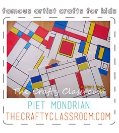 Mondrian Art Project for Kids. Teaching children about famous artists. From The Crafty Classroom blog.