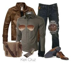 """Rugged Men's Fashion"" by keri-cruz ❤ liked on Polyvore featuring мода, Two Stoned, Doublju, Rayban, FOSSIL и Lanvin"