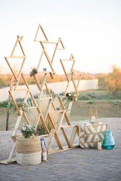 Geometric Backdrop Modern Southwestern Wedding in Serenity & Rose Quartz Photographer: The Amburgeys