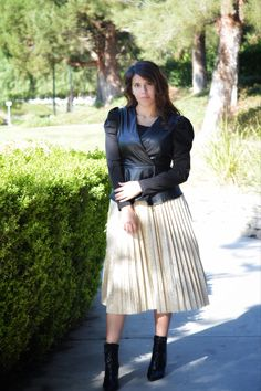 Modest holiday options dresses separates Modest Outfits, Modest Fashion, Modest Dresses, Gold Pleated Skirt, Midi Skirt, Vegan Leather Jacket, Peplum Jacket, Classic Skirts, Small Waist