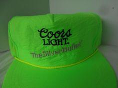 Coors Light Beer  Cap Hat Snapback VTG Neon Green 80s Nylon The Silver Bullet #CoorsLight #BaseballCap