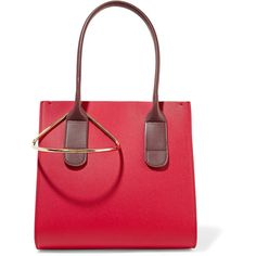 Roksanda Weekend mini two-tone textured-leather tote ($1,820) ❤ liked on Polyvore featuring bags, handbags, tote bags, red, red purse, tote purses, laptop purse, laptop tote and red tote handbags