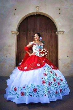 "Quinceanera dress - You are the ""belle of the ball, and all eyes are going to be on you, for this reason we've put together some pointers on how to select the best Quinceanera gown for you. 15 Anos Dresses, Xv Dresses, Gowns, Mariachi Quinceanera Dress, Mexican Quinceanera Dresses, Quinceanera Ideas, Quince Dresses Mexican, 15 Birthday Dresses, Charro Dresses"