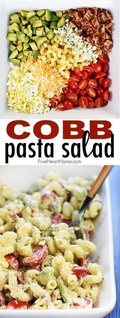 Cobb Pasta Salad ~ loaded with bacon, avocado, tomatoes, hard-boiled eggs, chees… – My Salat Summer Pasta Salad, Easy Pasta Salad, Pasta Salad Recipes, Summer Salads, Pasta Salad With Ranch, Easy Salads, Boiled Egg Salad, Boiled Eggs, Avocado Pasta