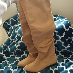 Boots Tan above the knee boots Shoe Dazzle Shoes Over the Knee Boots