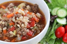 Quick Beef and Barley Soup - just a few minutes of prep, and then it simmers by itself for an hour. Use 1 1/3 cups pearl barley for Phase 1 (and more broth, if necessary), or 2/3 cup for Phase 3.