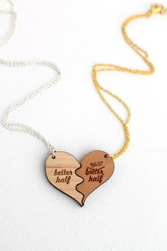 Better Half Best Half Wooden Necklace Set - Laser Cut Wooden Funny Better Half Best Half Couples Necklace Set
