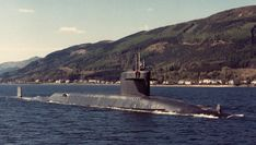 SSBN-631 US Grant leaving Holy Loch in 1991. One of the final two SSBN (along with Kamehameha) to leave before the base closed