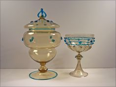 Large Steuben Art Glass Covered Jar and Venetian Chalice  1920s Steuben glass venetian covered comport with antique chalice of Venetian origin.