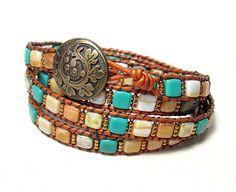 Etsy Wrapped leather bracelet Bronze leather Tila beads metal antique button 4 times wrap $73.00 USD