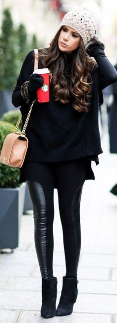 Winter Style // A gorgeous all-black winter outfit idea.