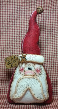 Gnome for the Holidays Pattern - Primitive Doll Pattern - Christmas - Santa - Gnome - St. Nicholas - Fiber Art - Whimsical-English Only Felt Christmas, Christmas Crafts, Christmas Decorations, Christmas Ornaments, Xmas, Primitive Doll Patterns, Gnomes, Wool Felt, Fiber Art