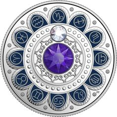 Pure Silver Coin made with Swarovski® Crystals - Zodiac Series: Capricorn - Mintage: New Zodiac, Zodiac Capricorn, Planets In The Sky, Gold Money, Zodiac Symbols, Coin Collecting, Silver Coins, Sterling Silver Pendants, Swarovski Crystals