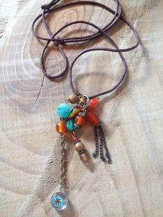 Bohemian Lederband Halskette Zwirl von FKBMartandaccessoire auf Etsy