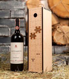 Personalized Wine Box Custom Puzzles Wood Wine Box by NomadGift