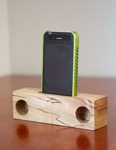 Natural wood acoustic speaker for your iPhone