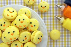 Easter Chick Macarons With Almond Flour, Powdered Sugar, Egg Whites, Sugar, Water, Yellow Food Coloring, Lemon Curd, Icing, Icing, Icing