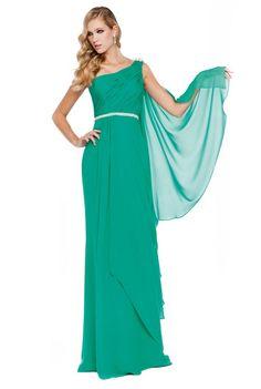 Vestido de fiesta largo color turquesa de Sonia Peña