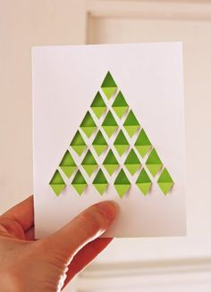 Homemade Christmas cards done by hand can make Christmas more traditional. While most people display their generic store-bought Christmas cards, yours will be sure to stand out. Here is a list of some creative homemade Christmas cards we've found. Diy Holiday Cards, Homemade Christmas Cards, Christmas Tree Cards, Diy Cards, Homemade Cards, Christmas Diy, Modern Christmas, Xmas Trees, Simple Christmas
