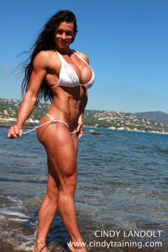 Beauty and nude muscle girl with