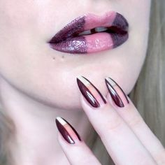 Negative space lip art and negative space nail art. Matching lips and nails. #talontedlex