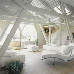 Beautifully done attic loft conversion. So clean & crisp looking with the simple whitewashed finish everywhere & the big windows and skylights. Style At Home, Interior Architecture, Interior Design, Attic Bedrooms, Attic Spaces, Big Windows, Cozy Corner, White Rooms, Home And Deco