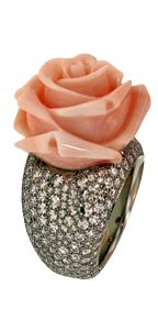 Carved corral rose ring. www.taffin.com | GALLERY
