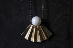 Minimalist gold modern geometric brass pendant necklace-Geometric brass statement necklace-pearl and seashell necklace-shell necklace by xuanqirabbit on Etsy