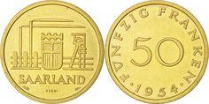 World Coins - SAARLAND, 50 Franken, 1954, Paris, KM #E5, AU(55-58)…