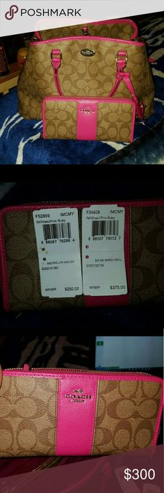 rare coach set 1 year old. wallet in excellent condition. purse is in good condition has some wear on handles. pen exploded in purse so there is some markings not to bad.. Coach Bags Crossbody Bags