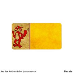 Red Fox Address Label #Fox #Animal #Cartoon #Illustration #Fashion #Mail #Envelope #AddressLabel #Label