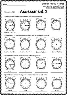 This packet is a selection of time worksheets and assessments. It is designed for grade (common core aligned to the telling time standard below). NOTE: It can still be used in other year levels (is very suitable for and Kids Math Worksheets, Time Worksheets Grade 3, Printable Activities For Kids, Math Resources, Area And Perimeter Worksheets, Learn To Tell Time, Math Charts, English Lessons For Kids, Reading Comprehension Worksheets