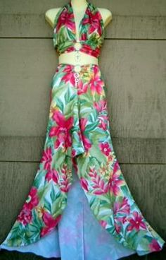 Retro 90s/70s Halter Crop top with Maxi Skirt Floral MOD Tropical Fishtail 38B L