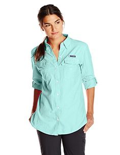 Columbia Womens Super Bonehead II Long Sleeve Shirt Candy Mint Oxford XSmall * Click on the image for additional details.