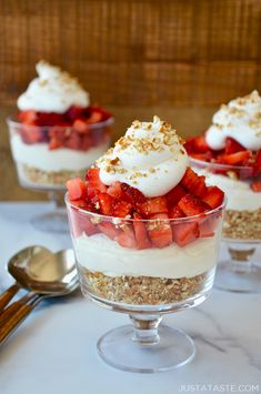 Crunchy pretzel crust, creamy no-bake cheesecake filling and fresh fruit join forces in this easy dessert recipe for Strawberry Pretzel Dessert Cups. Best of all, these individual sweets can be prepared in advance and assembled right before serving. justataste.com #desserts #recipes #nobakecheesecake #nobakedesserts #makeahead #individualdesserts #strawberrypretzeldessert #strawberrypretzelsalad #justatasterecipes