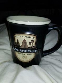 Los-Angeles-City-Of-Angels-Travelers-Choice-5-034-Black-Collectible-Mug-Americanware