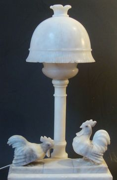 Italian Carved Alabaster Chicken Rooster Hen Lamp Italy Mid 20th Century - For Sale on Ruby Lane $195.00
