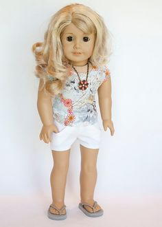 American Girl doll outfit w/flip flops ($29) or as sep pcs. Shorts $12, Shirt ($12) by EverydayDollwear on Etsy