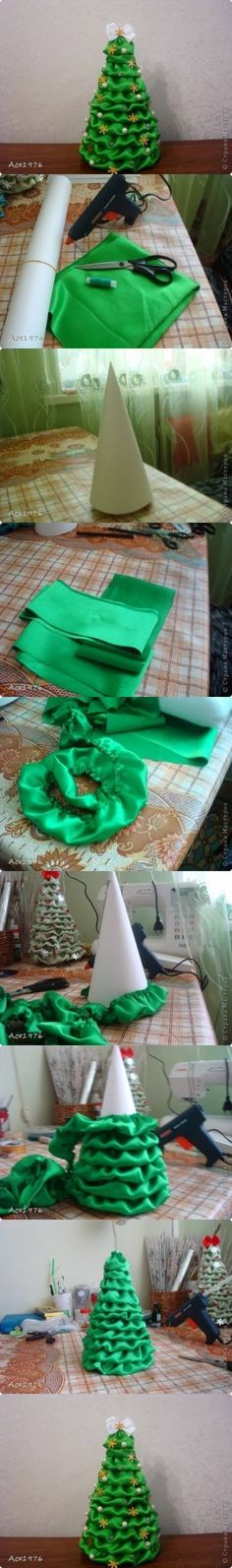 Fabric ruffle applied to styrofoam cone