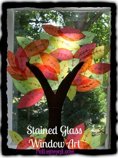 DIY Stained Glass Window Art - #FallCraft
