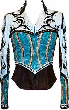 Chocolate and turquoise western rail/show jacket - Lindsey James show shirt