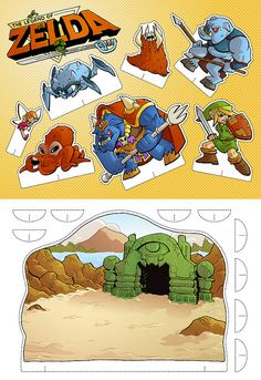The Legend of Zelda Cut-out playset by derekdraws, via Flickr