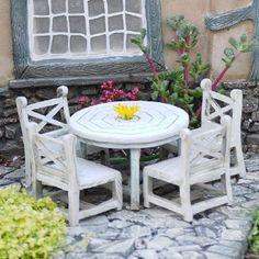 Floral Table Chairs Miniature Landscape Fairy Garden Decor Dollhouse Access GX