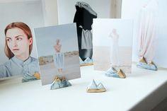 Set von 3 Photo und Postkartenhaltern in Marmor & Gold