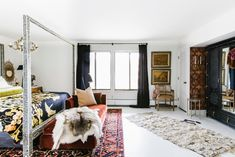 Tour the Michigan home of Veronica Hamlet, the designer behind Hamlet Interiors and Semikah Textiles. Learn about the designer's home renovation, design style, and how to rock the black and white look. Small Room Bedroom, Home Bedroom, Bedroom Decor, Bedroom Size, Bedroom Ideas, Bedroom Clocks, Serene Bedroom, Eclectic Design, Eclectic Decor